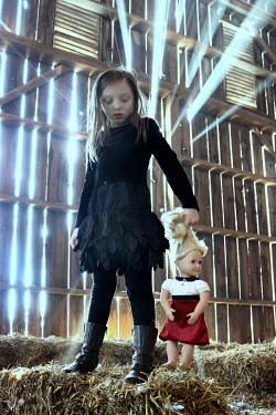 Stephen Carroll GIRL WITH DOLL IN BARN Children