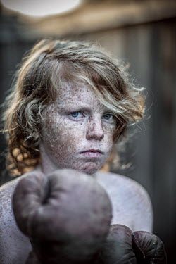 Tracie Taylor FRECKLED BOY WITH BOXING GLOVE Children