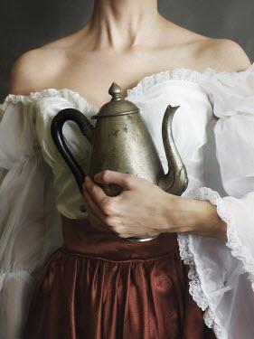 Malgorzata Maj HISTORICAL WOMAN HOLDING PEWTER TEAPOT Women