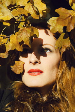 Claire Morgan BEAUTIFUL WOMAN WITH AUTUMN LEAVES Women