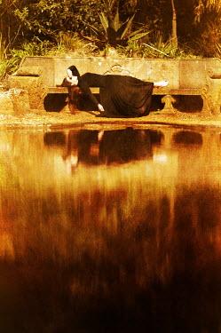 Stuart Brill WOMAN ON BENCH BY LAKE Women