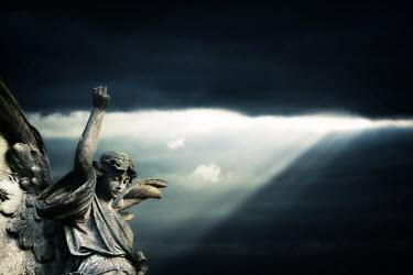 David Baker STONE ANGEL WITH DRAMATIC SKY Statuary/Gravestones