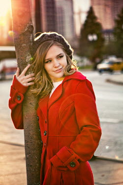 Elisabeth Ansley GIRL IN ORANGE IN CITY Women