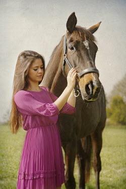 Annalisa Khan WOMAN IN PURPLE WITH HORSE Women