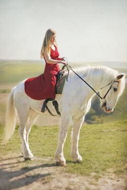 Annalisa Khan BLONDE WOMAN ON WHITE HORSE Women