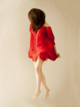 Agnieszka Kielak WOMAN JUMPING IN RED SILK Women