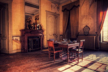 RomanyWG FADED GRANDEUR OF DINING ROOM INTERIOR Interiors/Rooms