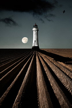 David Johnson LIGHTHOUSE WITH MOON AND FIELD Miscellaneous Buildings