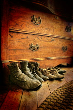 Jill Battaglia OLD SHOES BY WOODEN DRAWERS Miscellaneous Objects
