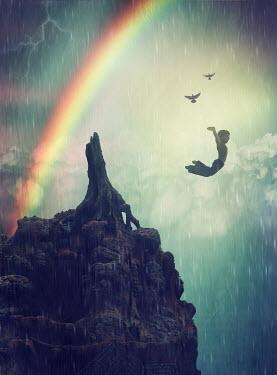 Elisabeth Ansley BOY JUMPING OFF CLIFF BY RAINBOW AND BIRDS Children