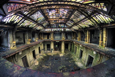 Christophe Dessaigne INTERIOR OF ABANDONED DERELICT WAREHOUSE Interiors/Rooms