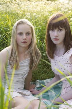 James Walker TWO GIRLS SITTING IN GRASS Children