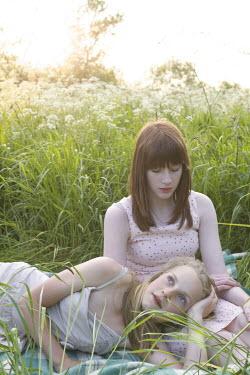 James Walker TWO GIRLS IN SUMMERY MEADOW Women