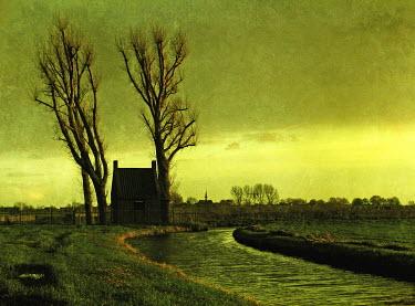 Carmen Gonzalez HOUSE BY WINTRY DUTCH CANAL Lakes/Rivers