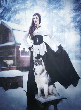 Margarita Kareva WOMAN WITH DOGS IN SNOW Women