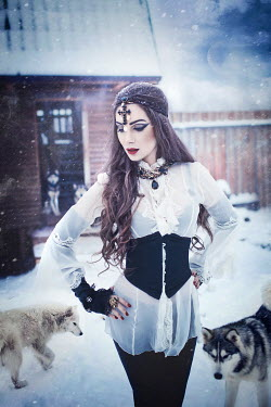 Margarita Kareva WOMAN IN DOGS IN SNOW Women