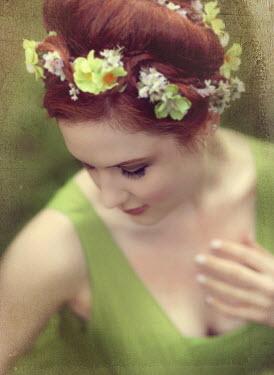 Jessica Drossin WOMAN IN GREEN WITH FLOWERS Women