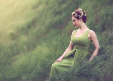Jessica Drossin WOMAN IN GREEN ON HILLSIDE Women