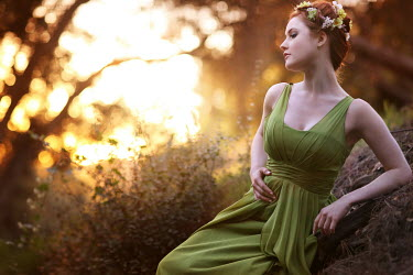 Jessica Drossin WOMAN WITH GARLAND IN FOREST Women