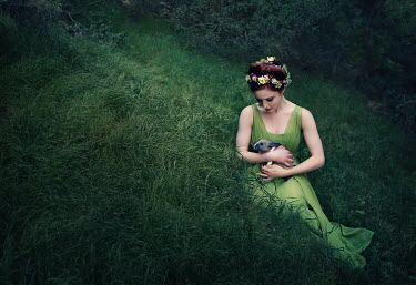 Jessica Drossin WOMAN ON HILL WITH RABBIT Women