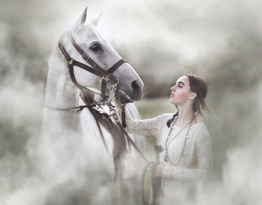 Jessica Drossin SERIOUS WOMAN STROKING WHITE HORSE Women