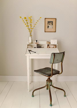 Julianna Collett DESK AND CHAIR WITH FLOWERS Interiors/Rooms