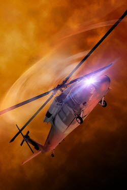 Victor Habbick HELICOPTER FLYING IN SMOKE Miscellaneous Transport
