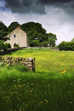 John Herbert Harrison STONE COTTAGE IN SUMMER FIELD Houses