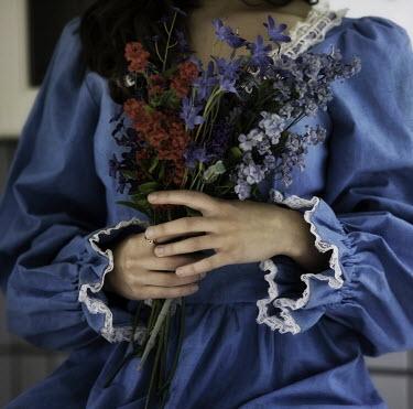Marico Fayre WOMAN IN DENIM DRESS WITH FLOWERS Women