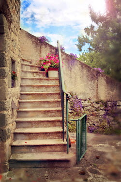 Irene Lamprakou STONE STEPS BY OLD COTTAGE Stairs/Steps