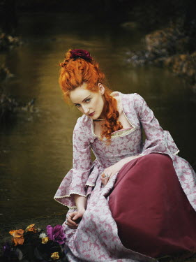 Malgorzata Maj BEAUTIFUL RED HAIRED HISTORICAL WOMAN WITH FLOWERS Women
