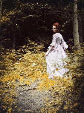Malgorzata Maj HISTORICAL WOMAN WALKING IN FOREST Women