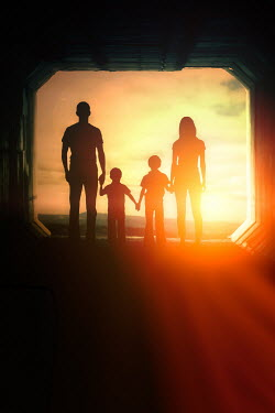 Elisabeth Ansley FAMILY IN TUNNEL WATCHING SUNSET Couples