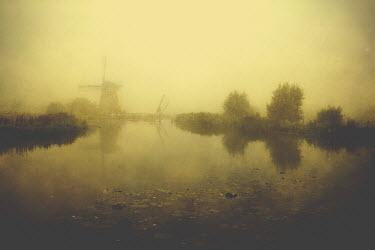 Lars van de Goor WINDMILL BY CANAL IN WINTER Miscellaneous Buildings