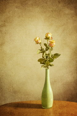 Reto Puppetti YELLOW ROSES IN GREEN VASE Flowers