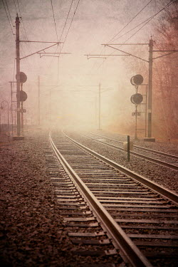 Lisa Bonowicz TRAIN TRACKS IN THE MIST Railways/Trains