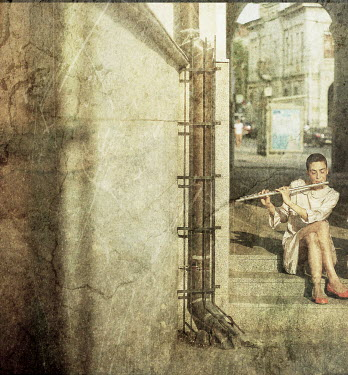 Veronica Gradinariu WOMAN ON STEPS PLAYING FLUTE Women