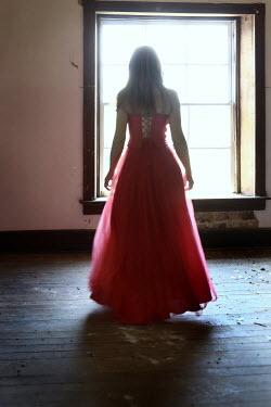 Stephen Carroll WOMAN IN RED DRESS INDOORS Women