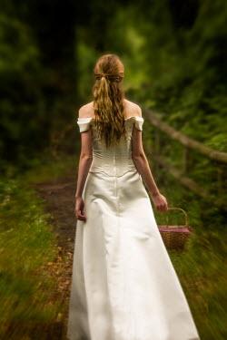 Elisabeth Ansley BRIDE IN WOODS WITH BASKET Women