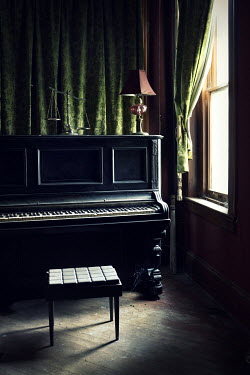 Stephen Carroll PIANO AND OTHER OBJECTS BY WINDOW Interiors/Rooms