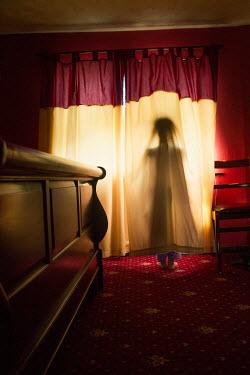Elisabeth Ansley FIGURE STANDING BEHIND CURTAIN Women