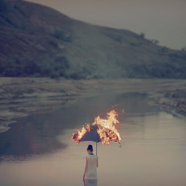 Oleg Oprisco WOMAN BY LAKE WITH FIRE Women