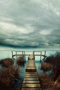 Christine Amat CLOUDY JETTY WITH REEDS Lakes/Rivers