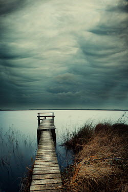 Christine Amat CLOUDY JETTY AND RIVERBANK Lakes/Rivers
