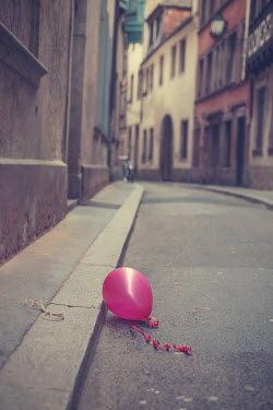 Kelly Sillaste RED BALLOON IN DESERTED STREET Streets/Alleys