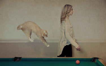 Fang Tong WOMAN WALKING BY SNOOKER TABLE WITH CAT JUMPING UP Women