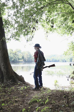 Stephen Carroll OLD COWBOY BY LAKE Old People