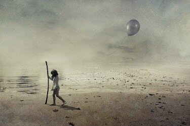 Fang Tong GIRL WALKING ON SAND WITH STICK AND BALLOON Children