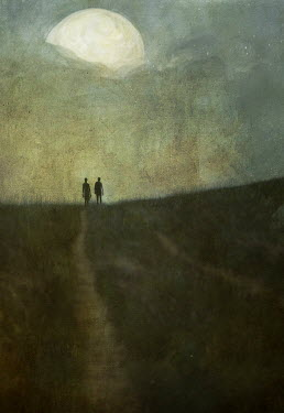 Jamie Heiden SIHLOUETTE OF COUPLE ON A COUNTRY ROAD Paths/Tracks