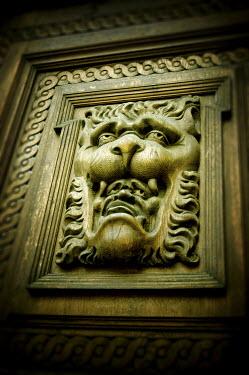 Nic Skerten WOODEN GARGOYLE WITH LION Building Detail